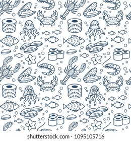 Fresh seafood pattern with fish, octopus, shrimp, crab, oyster, sushi rolls. Vector seamless texture in linear style. Design for seafood shops or restaurants