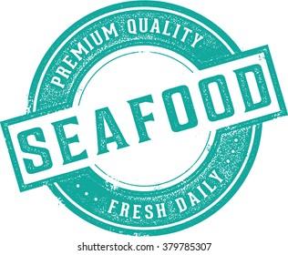 Fresh Seafood Restaurant Menu or Market Stamp