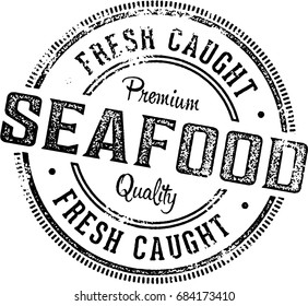 Fresh Seafood Vintage Restaurant Menu Stamp