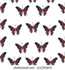 Fresh seamless butterfly iterative texture isolated on contrast back layer. Wildlife butterfly repeat theme vector. Wildlife insect fauna backdrop for textile.