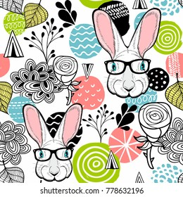 Fresh seamless pattern with cute white rabbit. Vector easter illustration.