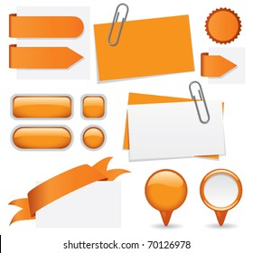 Fresh set of orange glossy buttons, paperclipped business cards, map markers, tabs, and banners. Web elements for you to customize with your text.