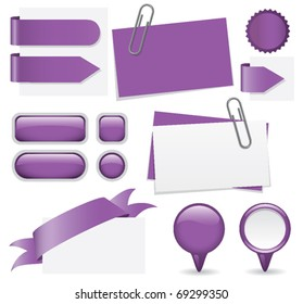 Fresh set of purple glossy buttons, paperclipped business cards, map markers, tabs, and banners. Web elements for you to customize with your text.
