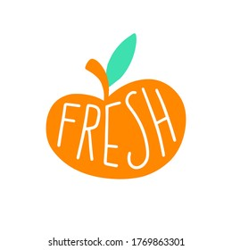 Fresh sign, apple. Healthly food concept icon. Simple element isolated on white background. Flat cartoon vector illustration, hand drawn style.