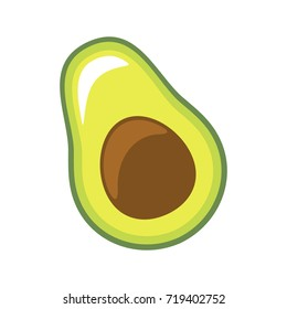 Fresh slice of avocado on white background, vector illustration.