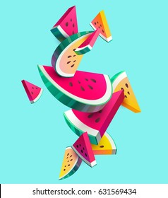 Fresh sliced watermelon fruit on bright background