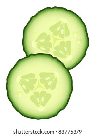 Fresh slices of cucumber with water drops, illustration