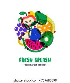 Fresh splash. Design concept for farmers market, ecofood shop.