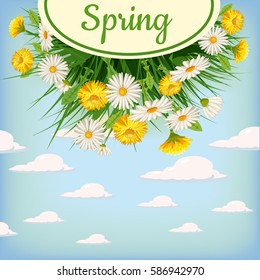 Fresh spring background bouquet of daisies and dandelions, grass, greeting, isolated, Cartoon style, vector illustration