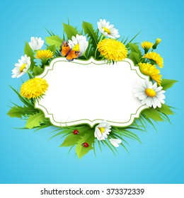 Fresh spring background with grass, dandelions and daisies Vector