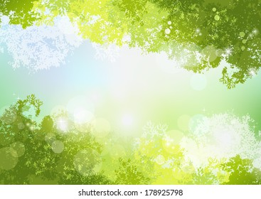 Fresh Spring Green background with soft sunlight. File contains Gradients, Transparent, Clipping mask, Gradient mesh.