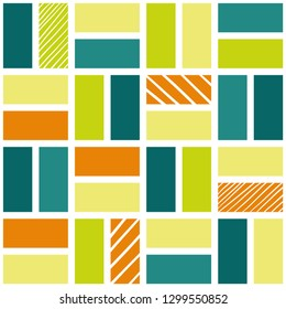 fresh squares with doodle stripes seamless pattern
