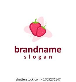 fresh strawberries logo design template