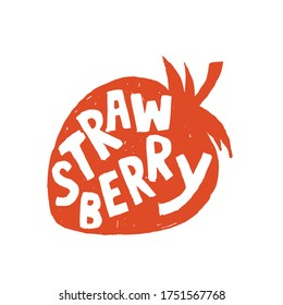 Fresh Strawberry Fruit for Emblem, Logo, Sign or Badge. Grungy Hand drawn style rough sketching.