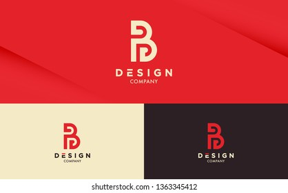 Fresh and stylish Logo design on Red background with different colour variations. Letter B vector logotype for your company.