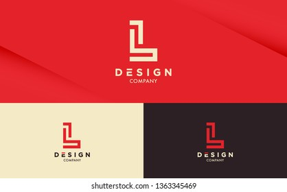 Fresh and stylish Logo design on Red background with different colour variations. Letter L vector logotype for your company.