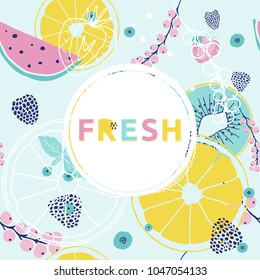 Fresh summer  background. Colorful hand drawn font, fruits, berries.