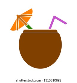 fresh summer cocktail juice coconut, cocktail juice illustration isolated - fresh drink sign symbol