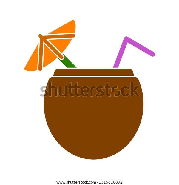 fresh summer cocktail juice coconut, cocktail juice illustration isolated - fresh drink sign symbol