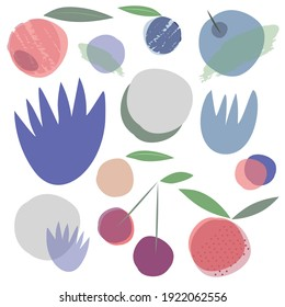 Fresh summer retro Scandinavian style fruit forest berries blueberries cherry cherries flower modern flat design collage illustration. Beautiful soft cool pastel color palette blue violet icy grey