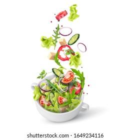 Frischer Sommersalat aus Grün und Gemüse, gestreut in einem tiefen Teller. Fliegendes Salatrezept. Vektorillustration 3d realistische Illustration einzeln auf weißem Hintergrund.
