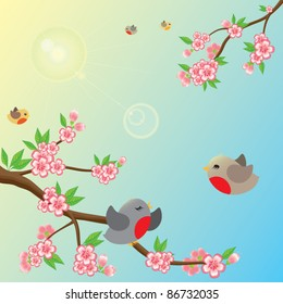 Fresh, sunny morning. Beautiful blossom branches, flying around birds and lens flare. Only simple gradient is used. Suitable for children's book illustration.