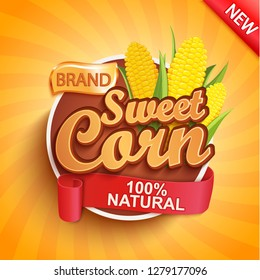 Fresh and sweet corn logo, label or sticker. Natural, organic food.Concept for farmers market, shops, packing and packages, advertising design.Vector illustration.