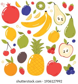 Fresh, tasty fruits set. Cartoon style hand drawn vector illustration. Vegan menu, healthy food. Fruits isolated on white. Pomegranate, apple, pineapple, plum, banana, apricot, apple, pear, berries...