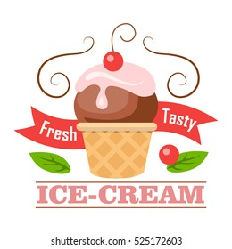 Fresh tasty ice-cream. Ball of ice cream in cone with one cherry. Crispy brown round waffle cup. Chocolate ice with pink flowering topping. Tasty confectionery. Cartoon design. Vector illustration