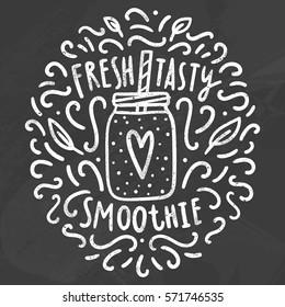 Fresh tasty smoothie. Vector hand drawn chalk illustration