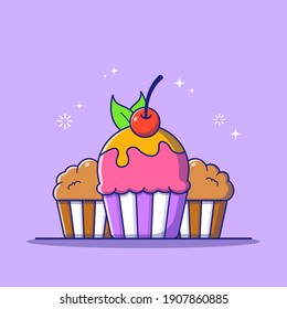 Fresh Tasty Sweet Cupcake with Cherry and Orange Syrup on Top and Leaf Suitable for Banner, Flyer, and Poster. Food and Drinks Icon Concept. Flat Cartoon Vector Illustration Isolated.