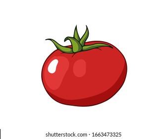 Fresh tomato. Cartoon vector icon isolated on white background.