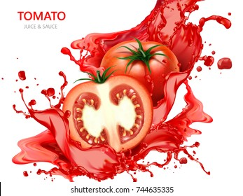 Fresh tomato with juice, 3d illustration isolated on white background