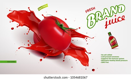Fresh Tomato Juice In Glass Bottle With Sliced Tomato Juice Splash. EPS10 Vector