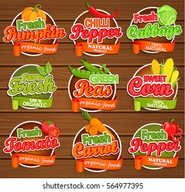 Fresh tomato, pumpkin, pepper, peas, cabbage, carrot, sweet corn, logo lettering typography food label or sticker. Concept for farmers market, organic food, natural product design.Vector illustration.