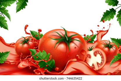 Fresh tomatoes with flowing juice in 3d illustration isolated on white background with green leaves