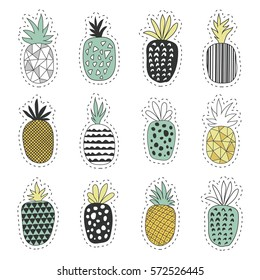 Fresh tropical fruit. Seth pineapples stickers
