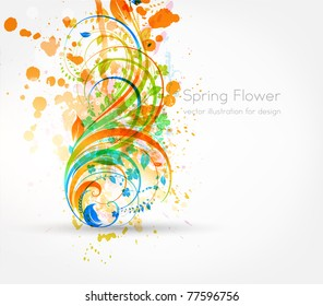 Fresh vector illustration with grunge elements. Floral ornament for summer design with flowers. eps 10