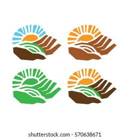 Fresh vector logo. Sun rays over a hand and field. Natural, organic, eco, farm, fresh, icon.