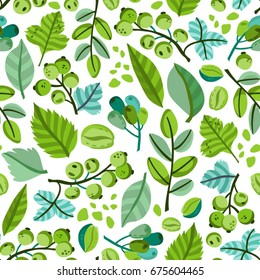 Fresh vector seamless pattern of green leaves.