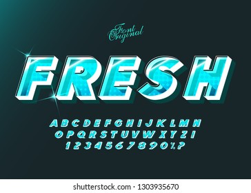 """""""Fresh"""" Vector  typeface bold style for logo, decoration, party poster,  book, greeting card, sale banner, printing on fabric. Cool alphabet 3d modern typography. Trendy font."""