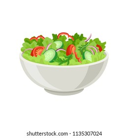 Fresh vegetable salad in gray ceramic bowl. Fresh and healthy food. Vegetarian nutrition. Flat vector for cafe or restaurant menu