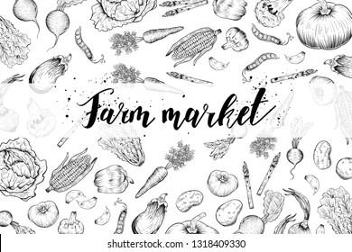 Fresh vegetables banner, farm market, vector