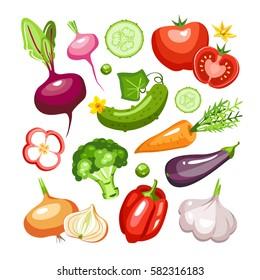 fresh vegetables collection beet radish cucumber tomato salad broccoli carrot eggplant garlic pepper onion zucchini paprika peas