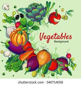 Fresh vegetables eco vector retro background