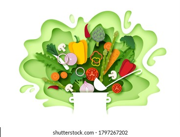 Fresh vegetables falling into the pot. Vector layered paper cut style illustration. Cooking food. Healthy meal. Natural organic food for menu poster banner template.