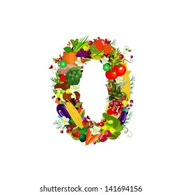 Fresh vegetables and fruits number 0