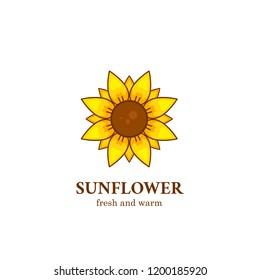 Fresh and warm sunflower logo symbol icon illustration