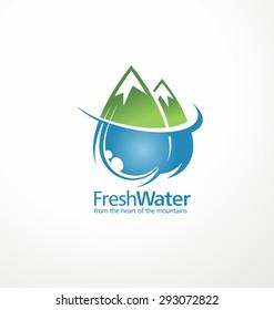 Fresh water drops as part of the mountains. Creative logo design template. Abstract aqua sign concept.