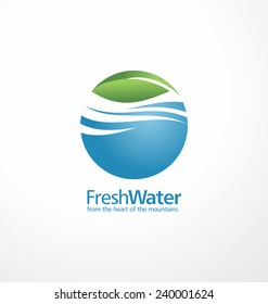 Fresh water and leaf creative logo design template. Abstract aqua sign concept. Corporate nature and landscape icon illustration.